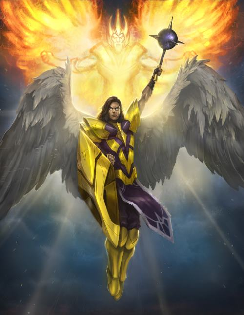 An atavian Priest, armed with Devotion and a spiritual mace, is accompanied by the Guardian Angel