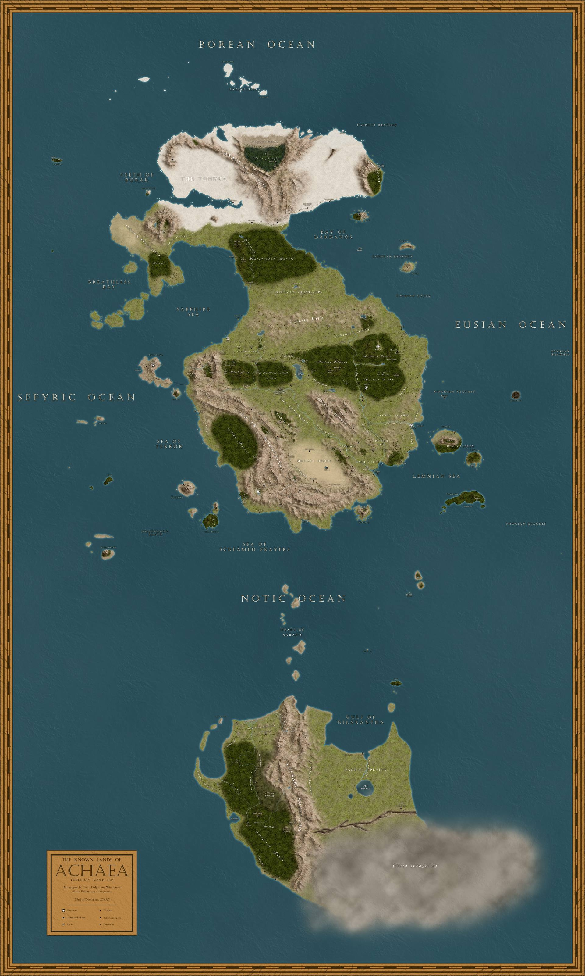 A map of the known lands of Achaea.