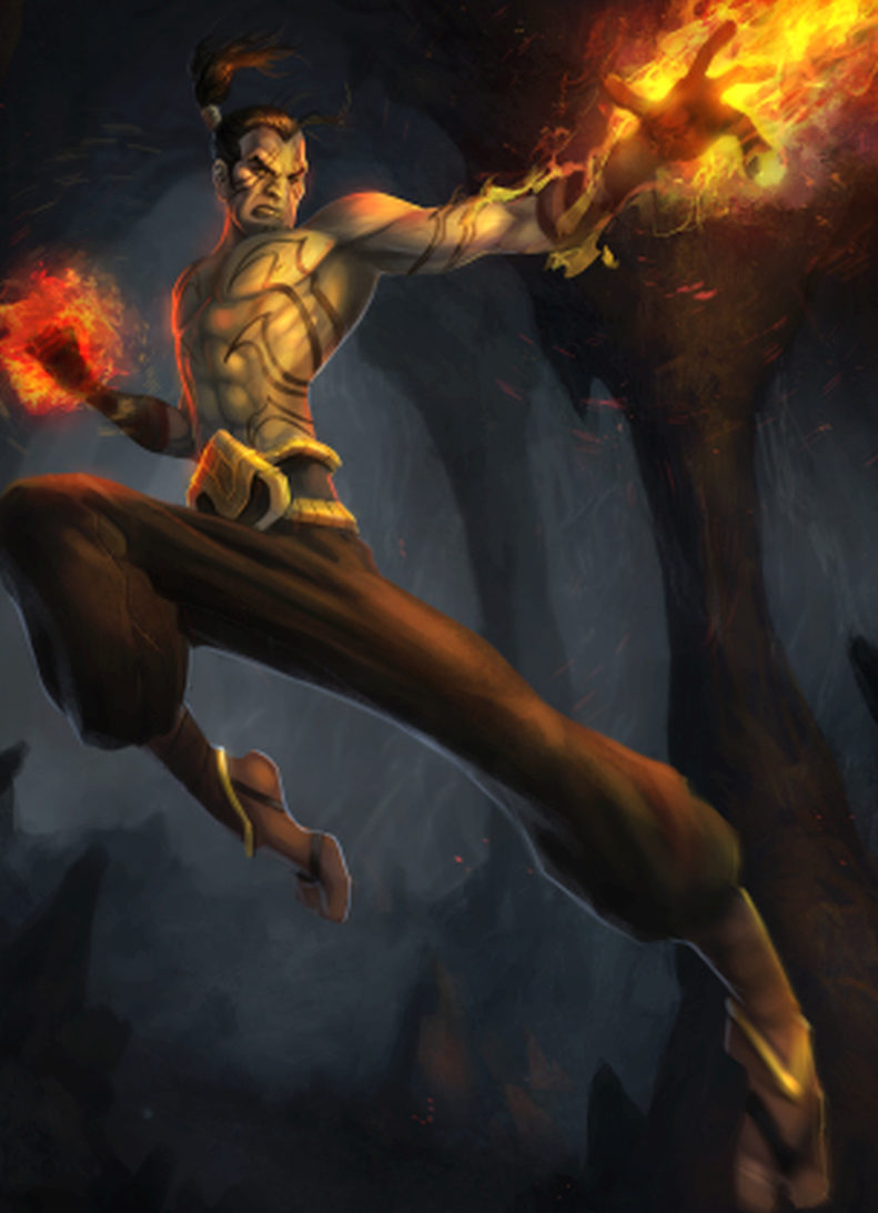 The flying feet and fists of the Monk are a formidable foe.