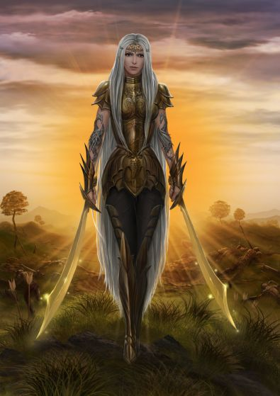 A Paladin, armed with fearsome weapons, wields devotion and steel in the name of Good.