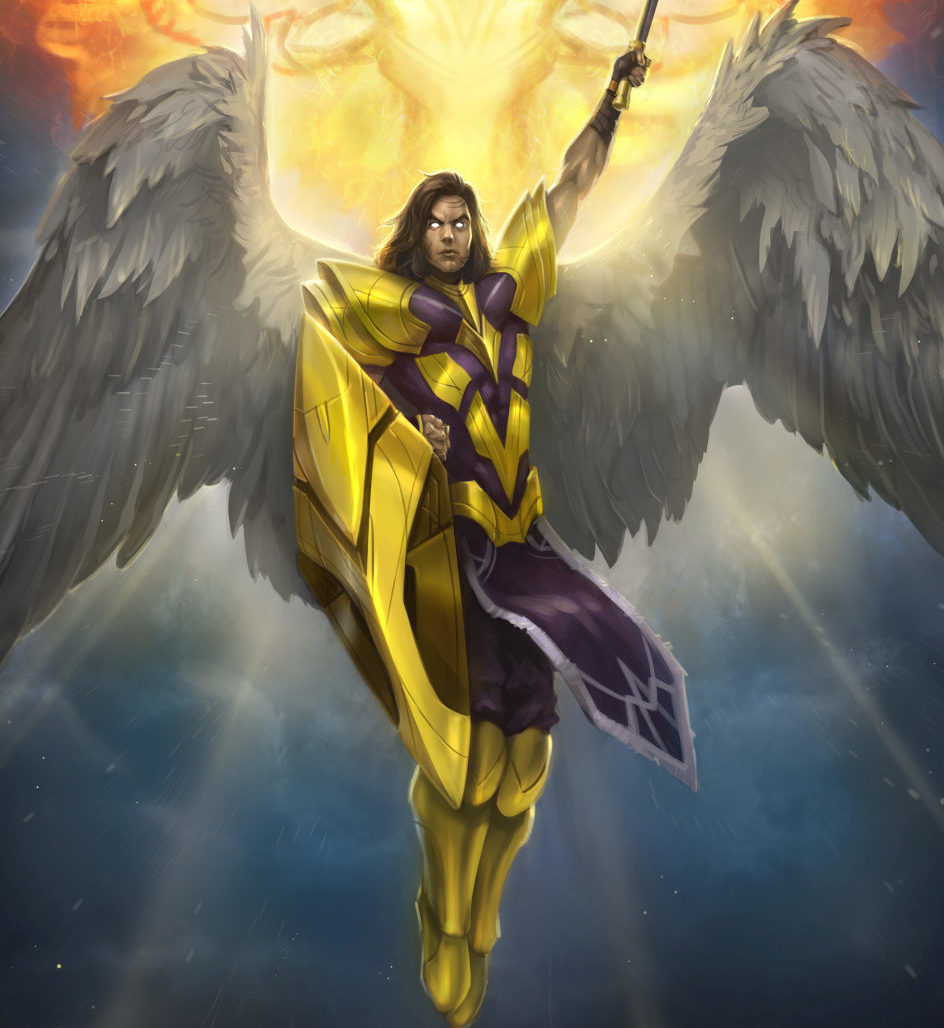 An atavian Priest, armed with Devotion and her spiritual mace, is accompanied by her Guardian Angel