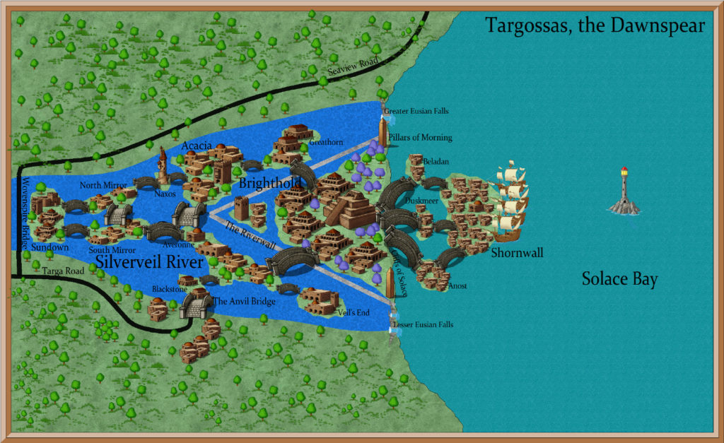 A map of Targossas, the Dawnspear.