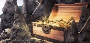 Treasure chest and skull